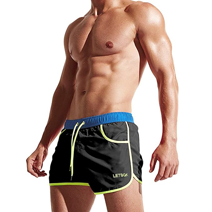 a1384ed8ac LETSQK Men's Sexy Swimwear Shorts Surf Swimsuit Swim Trunks | Amazon.com