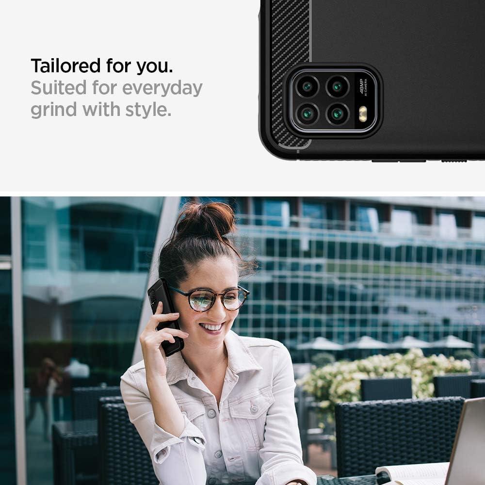 Absorci/ón de Choque Resistente y dise/ño de Fibra de Carbono Negro Mate Spigen Funda Rugged Armor Compatible con Xiaomi Mi 10 Lite