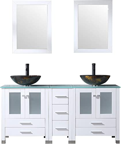 Sliverylake White 60inch Bathroom Vanity Top Double Vessel Sink Vanities 1011