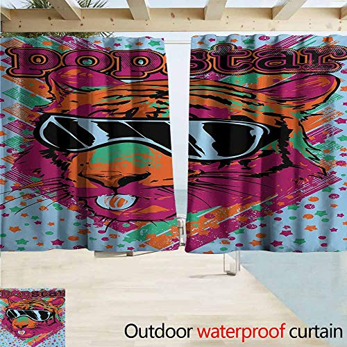 AndyTours Balcony Curtains,Popstar Party Popstar Poster Design Artistic Lion Painted with Sunglasses Dots and Stars,Darkening Thermal Insulated Blackout,W55x63L Inches,Multicolor