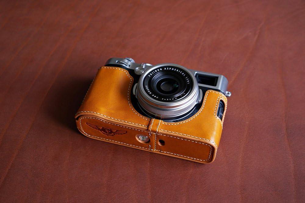 Lightbrown BolinUS Handmade Genuine Real Leather Half Camera Case bag Cover for FUJIFILM X100F Bottom Opening Version X100F Case
