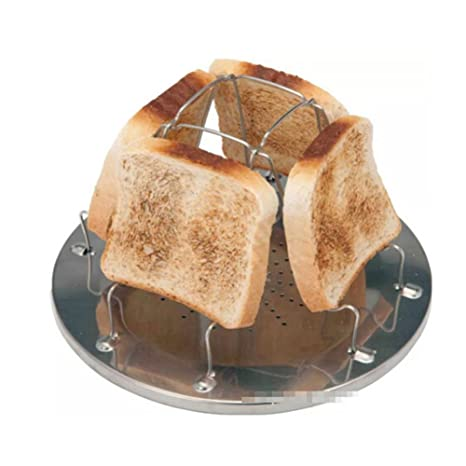 Espeedy Tostador de pan,4 rebanada plegable estufa tostadora de pan de acero inoxidable utensilios