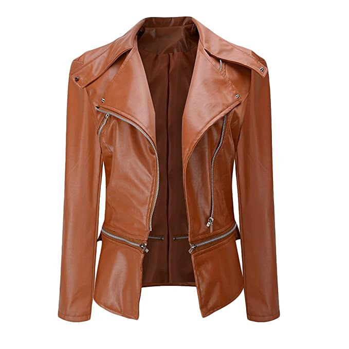 CHICFOR Women's Faux Leather Biker Motorbike Jacket Zipper PU Blazer Slim Fit Short Coat (XL, Brown)