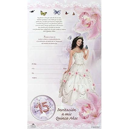 Amazon Com Beautiful Spanish Quinceanera Sweet 15 Invitations