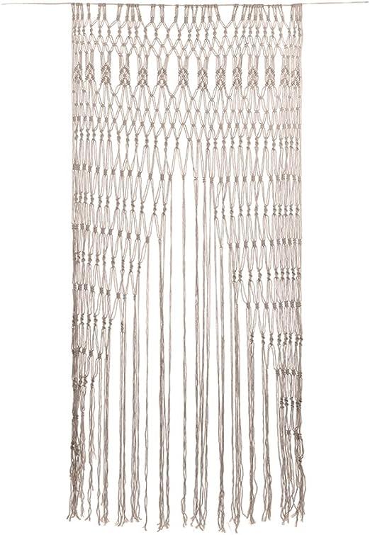Cortina de macramé de gran tamaño hecha a mano con hilo de algodón ...