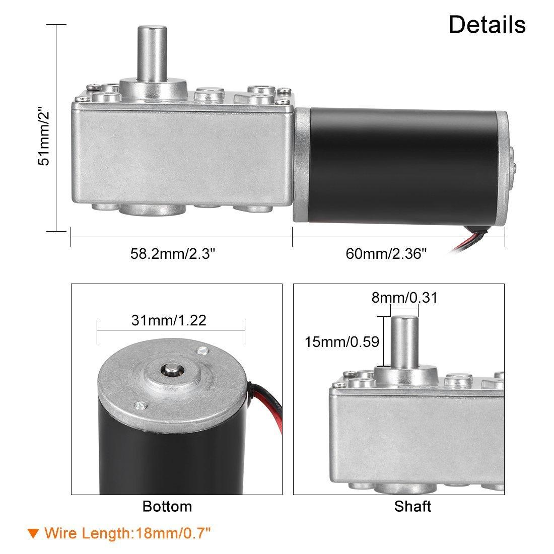uxcell DC12V 65RPM High Torque Electric Power Speed Reduce Turbine Worm Gear Box Motor