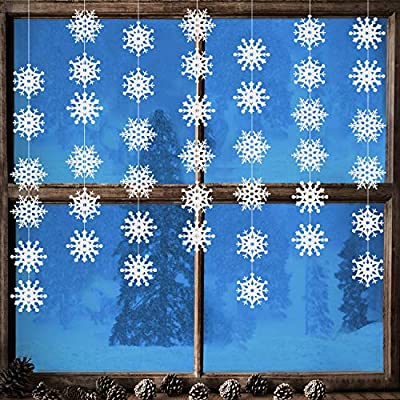 Jovitec 10 Strings of Snowflake Hanging Ornaments White Snowflake Garland Christmas Snowflake Banner Decorations Wonderland Ornaments Winter Frozen Birthday Party Supplies: Toys & Games