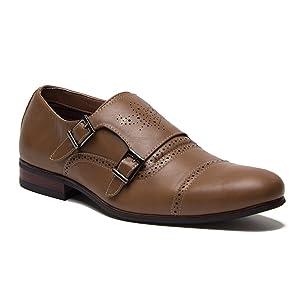 Ferro Aldo Men's 19396 Double Monk Dual Buckle Straps Cap Toe Dress Loafers Shoes , Brown, 9.5