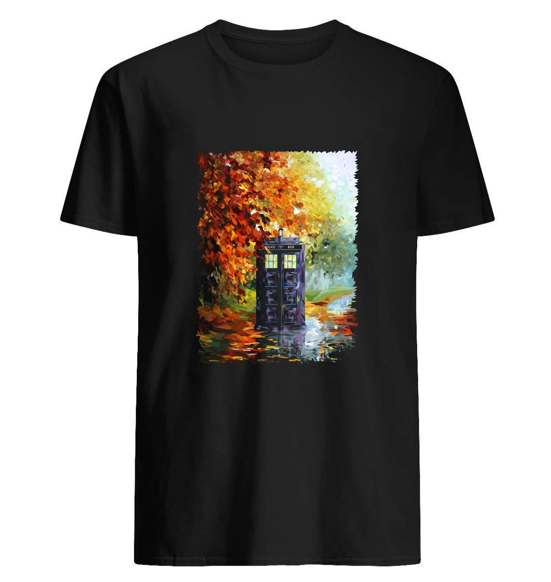 Blue Phone Booth With Autumn Views 70 T Shirt For Unisex