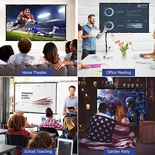 Abosi Projector Screen 120 inch 16:9 HD Foldable Anti-Crease Portable Projection Movies Screen for Home Theater Outdoor Indoor Support Double Sided Projection (screen-120)