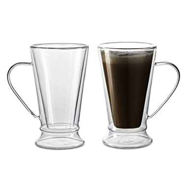Amor Home 12oz Clear Strong Double Wall Insulated Glass Mug for Coffee Tea, Set of 2