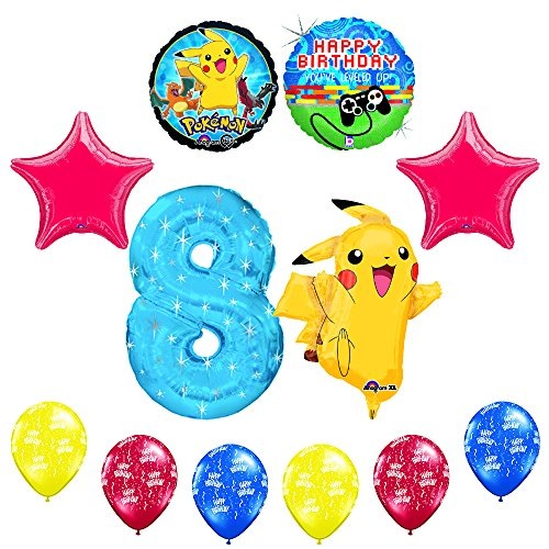 NEW-12-pc-Pokemon-Go-Youve-Leveled-Up-8th-Happy-Birthday-Balloon-Decoration-supplies