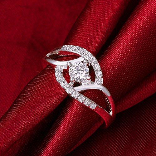 CS priorité Bicyclic Anneau incrusté avec pierre 7# Argent Bijoux Fashion pour femme Mesdames