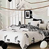 NANKO Twin Duvet Cover Set Fun Zebra, 2 Piece - 1000 - TC Luxury Hypoallergenic Microfiber Down Comforter Quilt Cover with Zipper Closure, Ties - Best Organic Modern Style for Kids Boys and Girls
