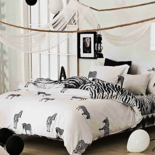 (NANKO Twin Duvet Cover Set Fun Zebra, 2 Piece - 1000 - TC Luxury Hypoallergenic Microfiber Down Comforter Quilt Cover with Zipper Closure, Ties - Best Organic Modern Style for)