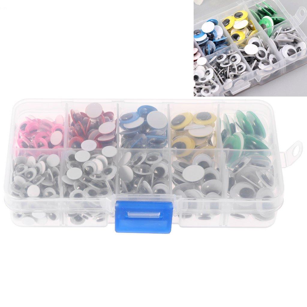Lunji 500pcs 6-15mm Yeux Autocollants en Plastique pour Poupée Jouet Décoration DIY