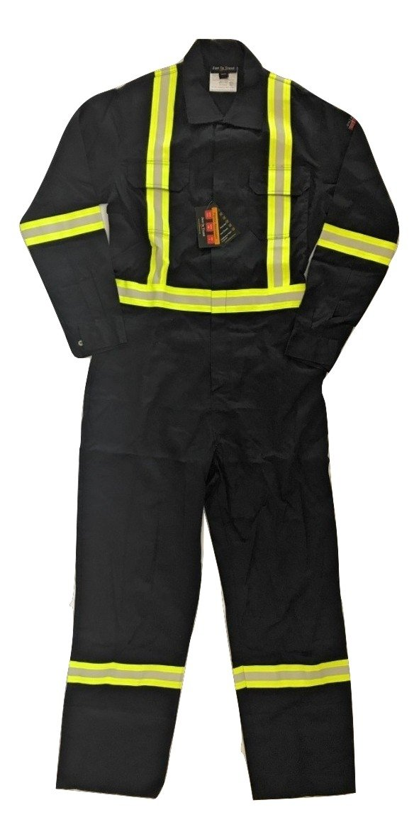 Flame Resistant FR High Visibility Hi Vis Coverall - 88% C/12% N (2X-Large, Navy Blue)