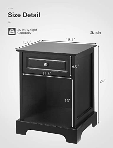 Black Nightstand for Bedroom Kealive 2 in 1 End Table with Drawer and Open Storage Shelf, Night Stand Furniture Home Style, Easy Assembly 18.1L x 15.8W x 24H