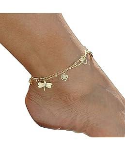 AIUIN Bracelet de Cheville Femmes Filles en Argent Simplicité à Double Couche Style Pendentif chaîne Bracelet de Cheville Pieds Nus Bijoux de Plage 1pcs
