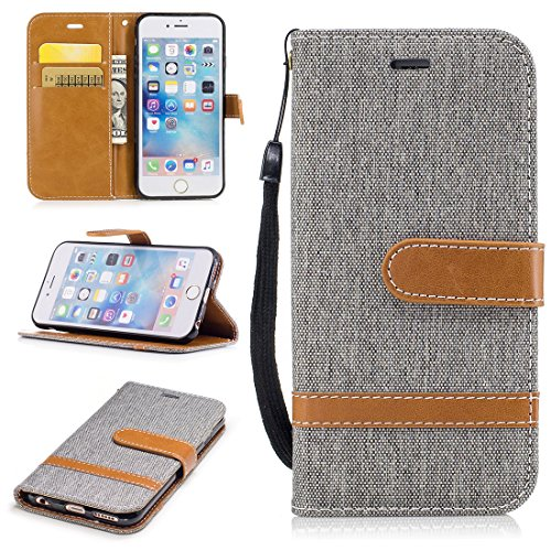 Case for iPhone 6s, ANGELLA-M Canvas [Denim Series] [Casual Style] Wallet Flip Case with Stand & Card Slots Magnetic Closure Cover for iPhone 6 / iPhone 6s 4.7″ – Gray Review