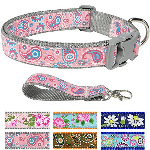 Pet Rejoir Creative Floral Dog Collar Collection – 3 Designer Patterns Fall Leaf Inspired– Timeless Iconic Baby Pink Paisley Dog Collar – Neck 15~19