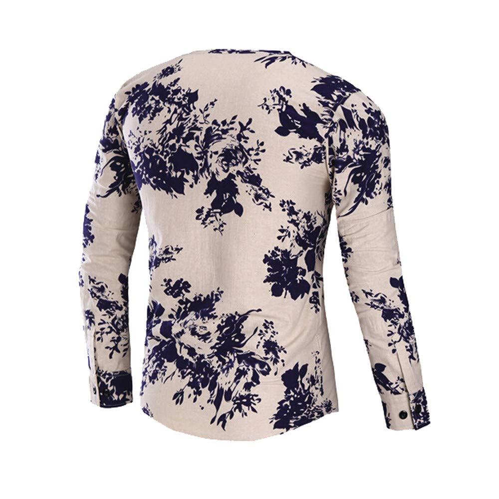 Palarn Clearance Clothes Fashion Mens Slim Long Sleeve Shirt Button Flower Printed Shirt Blouse Top