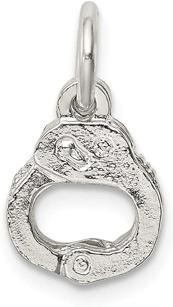 11mm x 17mm Solid 925 Sterling Silver Handcuffs Charm Pendant
