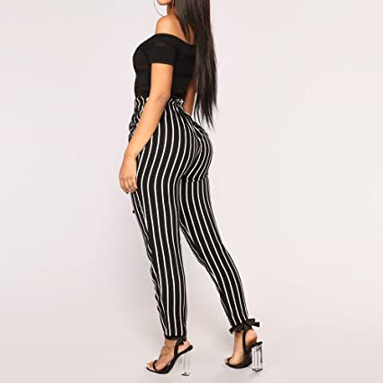 BaZhaHei Mujer Flacas Pantalones Vaqueros a Rayas a Rayas Corbata Cintura  Alta Damas pantalón pantalón Skinny Women Striped Long Jeans Tie High Waist  Ladies ... a5838b0efe5a