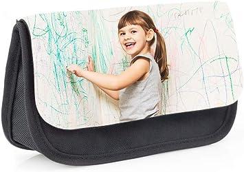 Regalo Original Estuche Escolar de Color Negro Tipo Bolsa Personalizado con tu Foto o Texto para la Vuelta al Cole 13 cm x 21 cm: Amazon.es: Juguetes y juegos