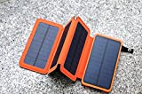 ApexJoy Portable Shockproof 10000 mAh Power Bank with Foldable Solar Panel Charger & LED Light