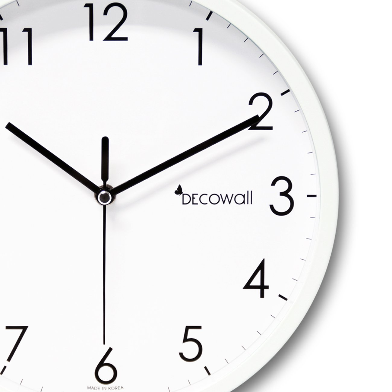 Decowall DSH-MSBW250 9.8 Non-ticking Silent Modern Metal Wall Clock DIY for Living Room Bedrooms Office Kitchens 25cm, White