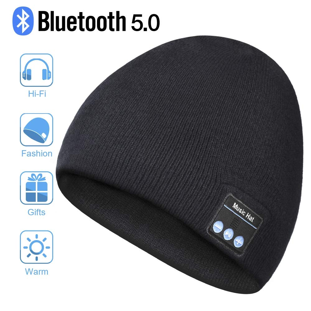 Bluetooth Beanie Hat, Wireless Headphone Beanie, Mens Gifts Womens Gifts, Winter Knitting Beanie Cap with Bluetooth Earphones, Built-in Microphone for Hand-Free Calling Black