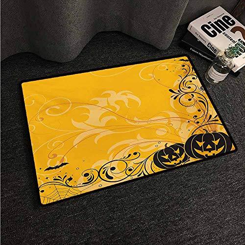 HCCJLCKS Bedroom Doormat Halloween Carved Pumpkins with Floral Patterns Bats and Web Horror Jack o Lantern Artwork Machine wash/Non-Slip W20 xL31 Orange -