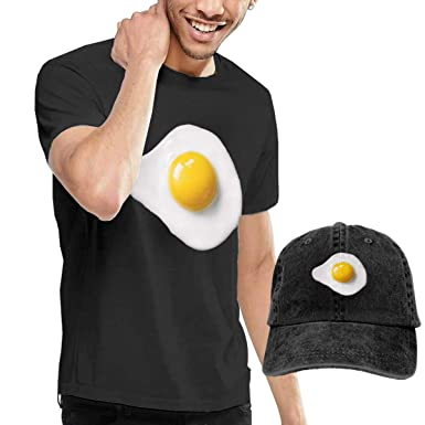 5c00c81e6c Amazon.com: Stazary Fried Egg Men's Black Crew Neck Short Sleeve T-Shirt  and Cowboy Cap: Clothing