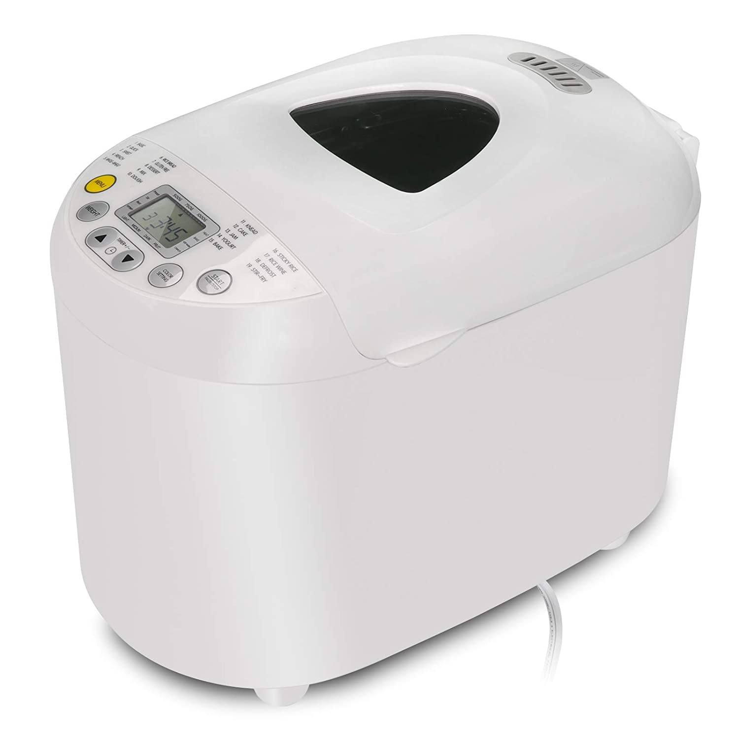 SUPER DEAL Automatic Bread Maker Stainless Steel 19 Programs, 3 Loaf Sizes, 3 Crust Colors, 15 Hours Delay Timer, 1 Hour Keep Warm, Whole Wheat Breadmaker, 550W