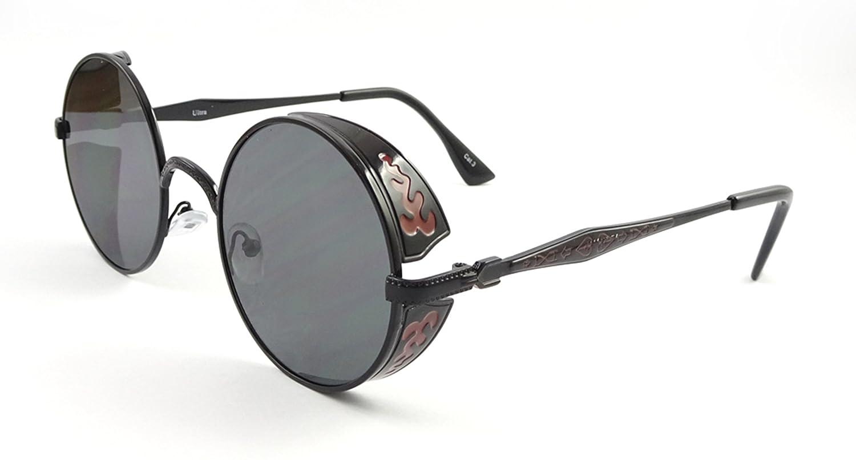 bae08a8988 Ultra Steampunk Sunglasses Goggles Premium Retro Women Men 50s Round Rave  Gothic Vintage Rivet Victorian Style Tea Copper Cyber Welding Cosplay UV400  ...