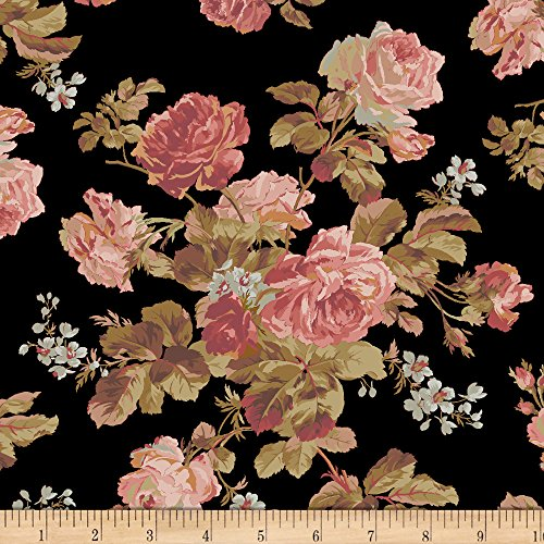 Marcus Brothers Faye Burgos Impromptu Mix Traditional Wallpaper Rose Black Fabric by The ()