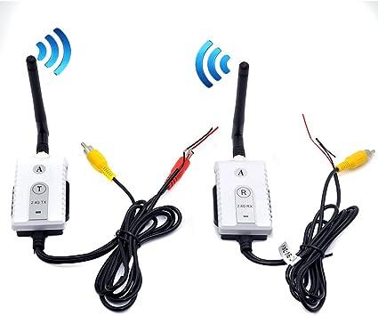 Auto Wayfeng WF/® 2.4G sans Fil AV c/âble /émetteur et r/écepteur pour Bus Voiture Moniteur vid/éo Camion de recul Vue arri/ère cam/éra de recul de 200m Plage