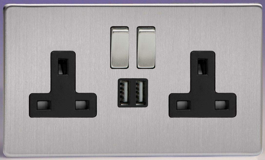 Flat Plate Screwless Brushed Steel 2 Gang 13 Amp Socket + 2x USB Charging Port - Black Inserts Varilight XDS5U2SBS