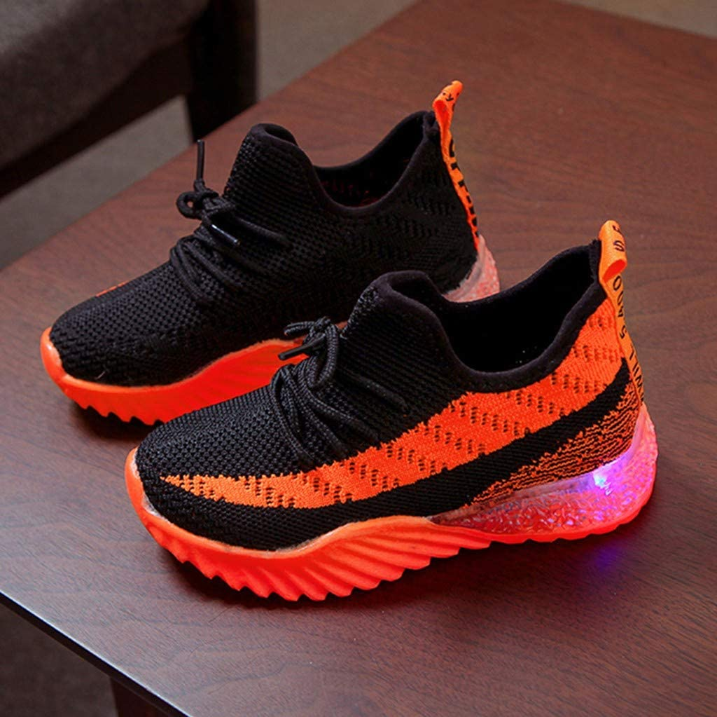 Viviplus Kids Led Light Up Sneakers Children Kid Baby Girls Boys Candy Color Luminous Breathable Sport Run Sneakers Shoes for 1-6 Yrs