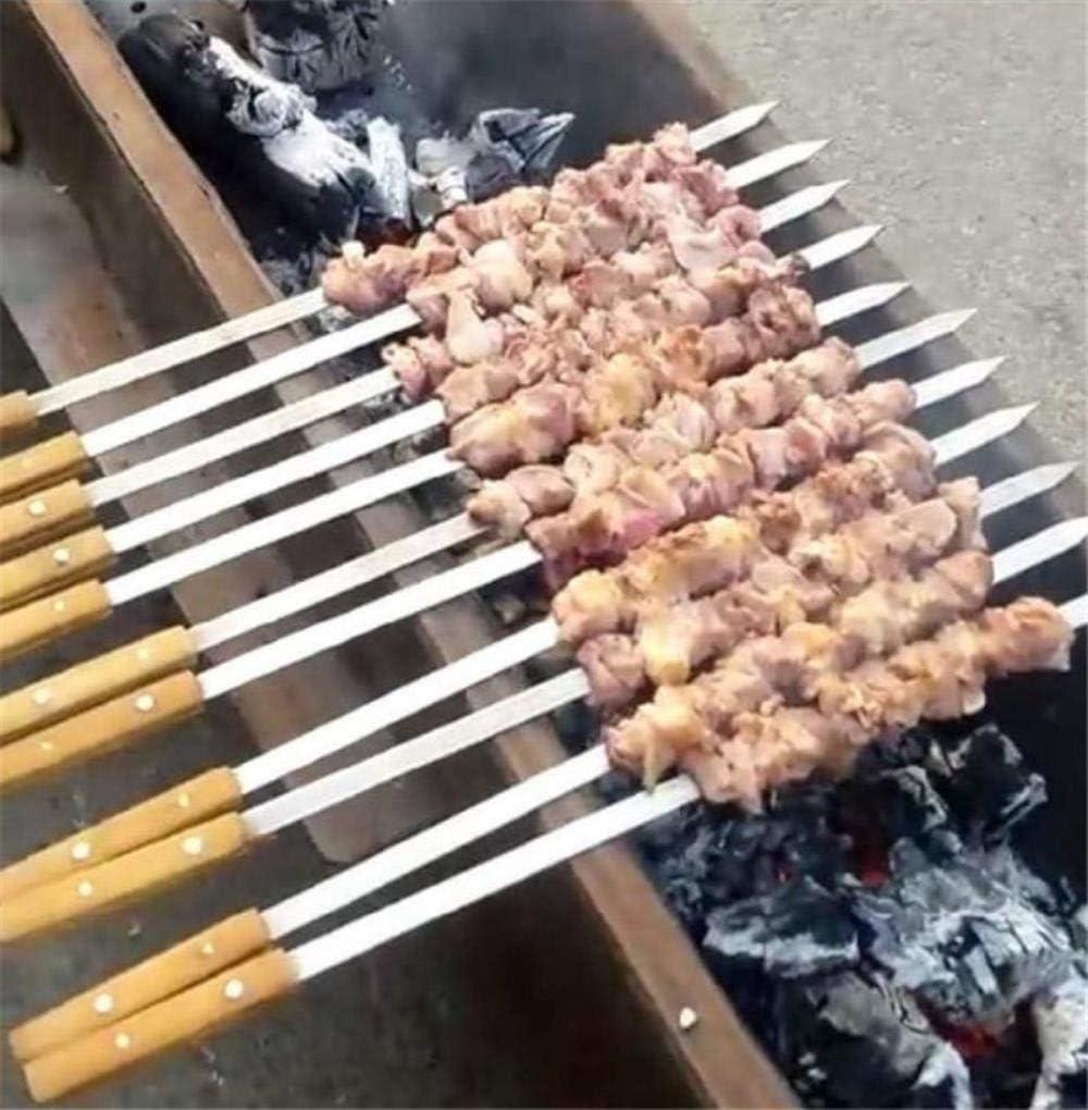 DONG 10 Pcs Long Épais 40 50 60 CM Poignée en Bois Barbecue Aiguille Chaîne De Viande Barbecue Barbecue Broches Barbecue Outils Barbecue Outils Kebab Bâtons Outils, 54 cm 39cm