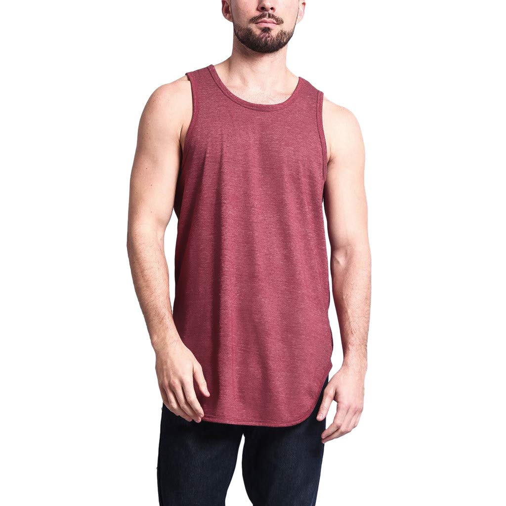 Men Tees Sleeveless T-Shirt Casual Solid Color Curved Hem Tank Top Gym Training Bodybuilding Shirts (XL, Red)