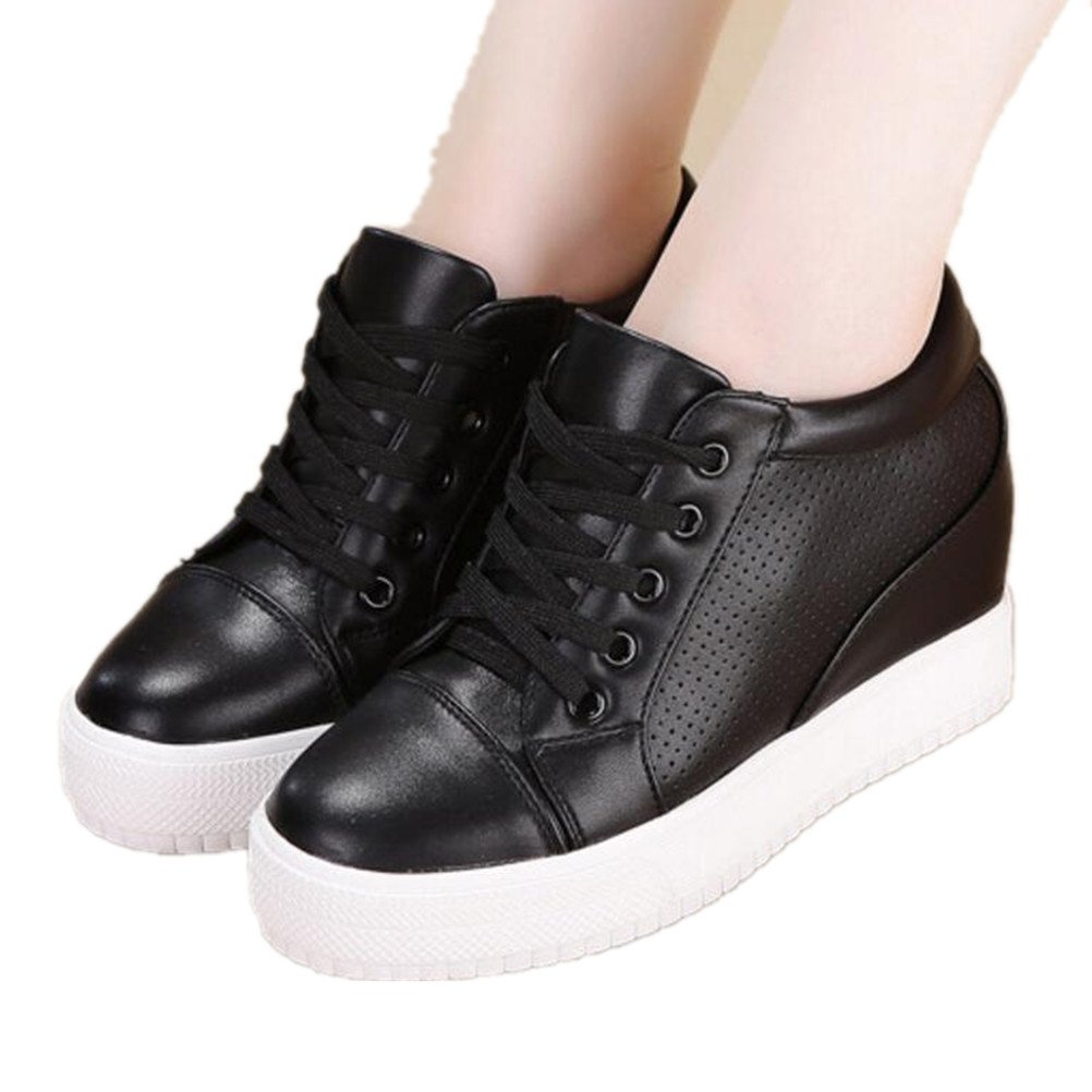 ACE SHOCK Women's Casual Lace up Hidden Heel Wedges Platform Fashion Sneakers (6.5, Black)
