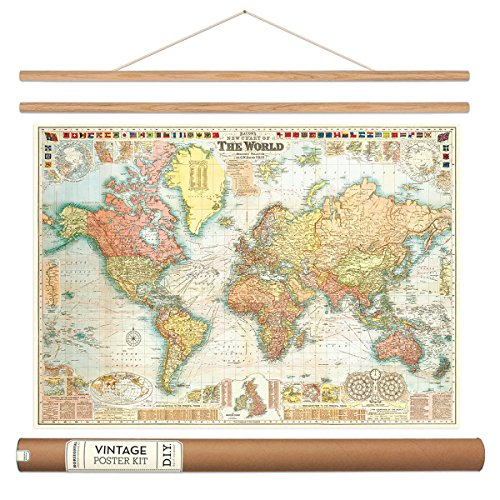 Vintage world map best retro products bacons world map vintage style poster with hanger kit 28 x 20 gumiabroncs Image collections