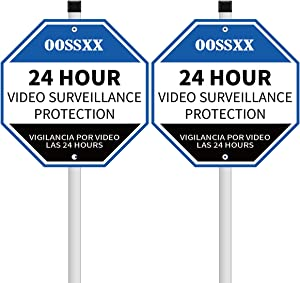 OOSSXX [2 Pack] 24 Hour Video Surveillance Sign, 8.66 × 8.66in 40 Mil Thick Weather Resistant Long Lasting UV Protected Waterproof Yard Lawn Signs with Aluminum Stake Outdoor Use Blue