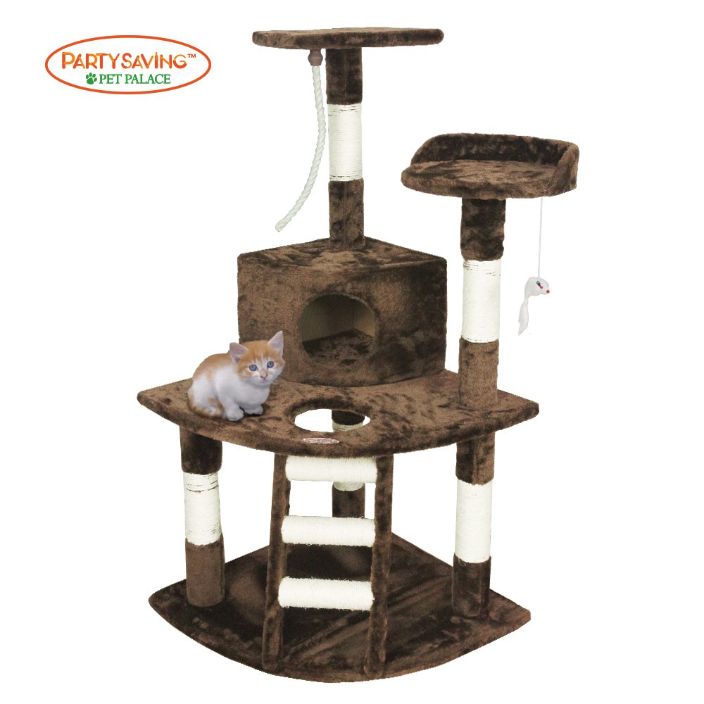 PET PALACE 47'' Cat Tree Kitten Activity Tower Condo with Perches, Deluxe Scratching Posts, Rope, and Mouse, APL1355, Brown