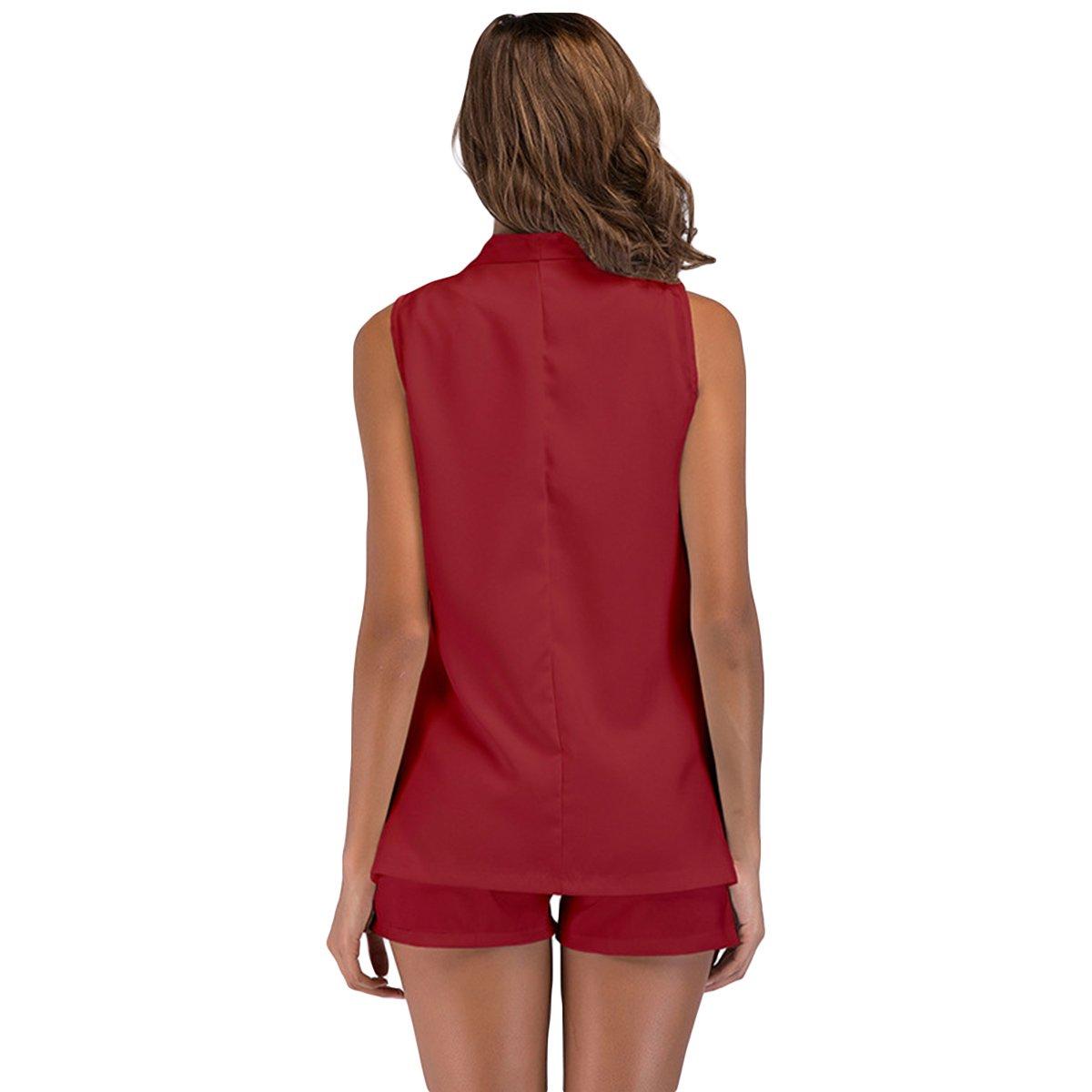 Women Summer Work Business Three Pieces Suits Tank Top Shorts Sleeveless Blazer