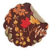 C&F Set of 4 Quilted Round Placemats Amison Fall Leaves on Brown 17''