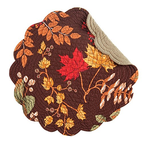 C&F Set of 4 Quilted Round Placemats Amison Fall Leaves on Brown 17'' by C&F Home