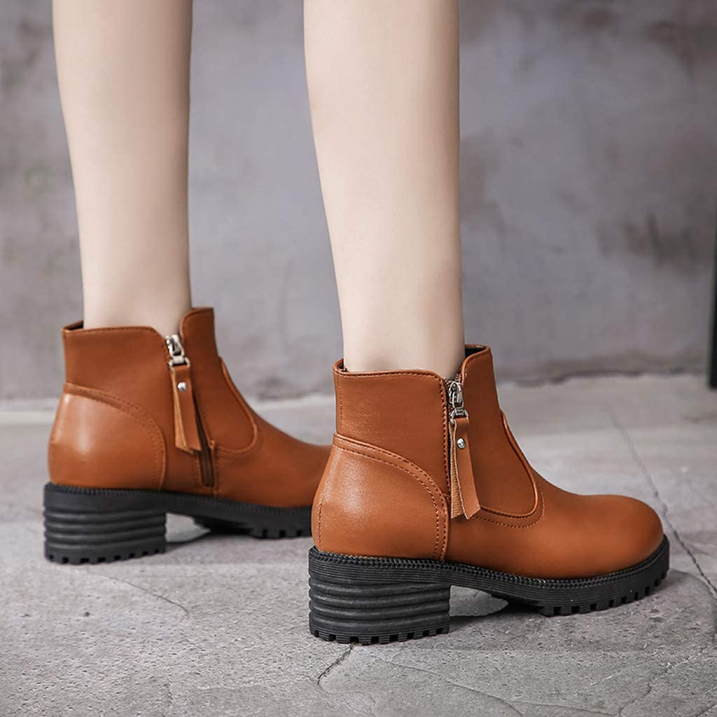 Womens Ankle Boots Round Toe Chunky Block High Heel Side Zipper Casual Wedge Shoes